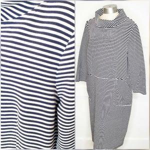 Boden Plus Blue White Bardot Neck Knit Dress 16L